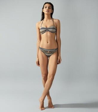 Reiss Zola - Printed Bandeau Bikini Top in Multi