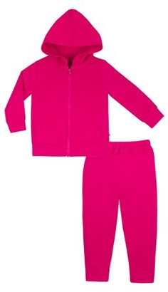 Little Star Organic Baby & Toddler Girl's Brights French Terry Hoodie & Jogger Pants, 2pc Set