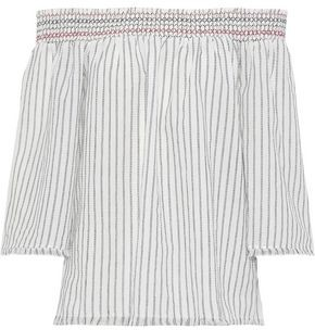 Charli Alisa Off-the-shoulder Striped Cotton-gauze Top