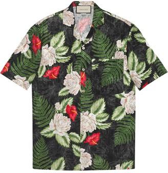 Gucci Leaf-Print Short-Sleeved Shirt