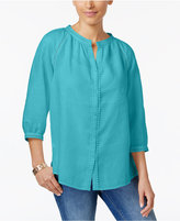 Charter Club Linen Crochet-Trim Shirt, Created for Macy's