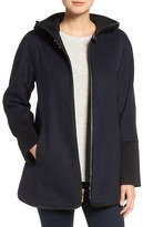 Ellen Tracy Faux Leather Trim Duffle Coat (Regular & Petite)