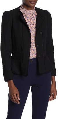 Rebecca Taylor Solid Tweed Snap Peplum Jacket