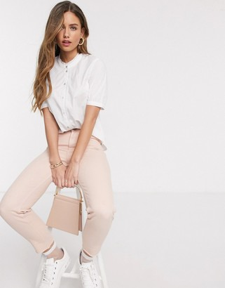 JDY cotton shirt with lace trim in white