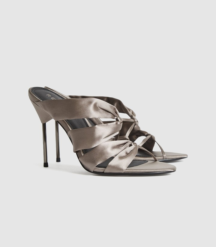 Thumbnail for your product : Reiss Monroe - Satin Pin-heel Mules in Grey