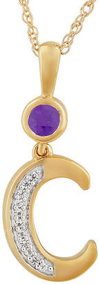 Fine Jewelry C Womens Genuine Purple Amethyst 14K Gold Over Silver Pendant Necklace