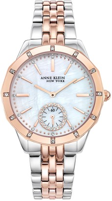 Anne Klein Women's Two-Tone Swarovski Crystal Bracelet Watch, 38mm
