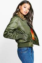 Boohoo Jessica Faux Fur Collar Bomber Jacket