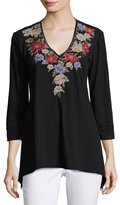Johnny Was 3/4-Sleeve Embroidered Tunic, Black