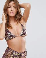 Butterfly by Matthew Williamson Fan Print Triangle Bikini Top