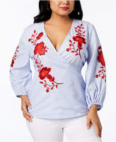 INC International Concepts I.N.C. Plus Size Embroidered Wrap Top, Created for Macy's