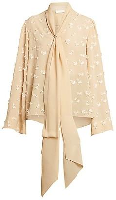 Chloé Tieneck Flutter-Sleeve Floral Silk Blouse
