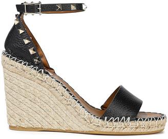 Valentino Rockstud Pebbled-leather Espadrille Wedge Sandals