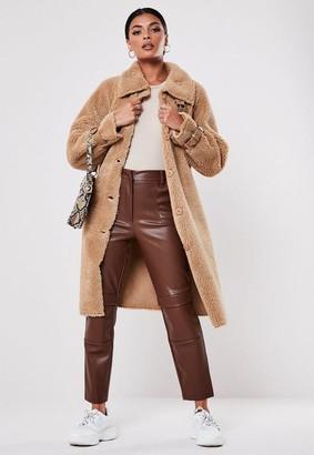 Missguided Tall Tan Buckle Detail Borg Teddy Coat