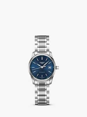 Longines L22574926 Women's Master Collection Automatic Date Bracelet Strap Watch, Silver/Dark Blue