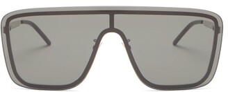 Saint Laurent Logo-engraved Shield Metal Sunglasses - Grey