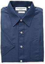 Nick Graham Men's Dot Triangle Print Polyester Short Sleeve Dress Shirt