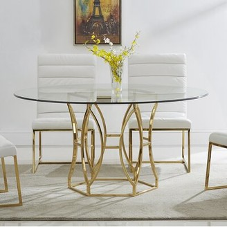"Everly Lofton Dining Table Quinn Color: Gold, Size: 31"" H x 54"" L x 54"" W"