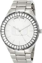 Game Time Women's COL-WIN-MIA Winner Baguette Stone Bezel Analog Display Japanese Quartz Silver Watch
