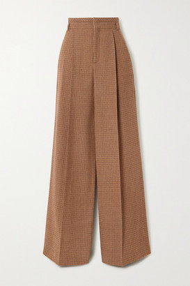 Chloé Pleated Houndstooth Wool Wide-leg Pants - Brown
