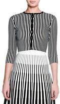 Tomas Maier 3/4-Sleeve Striped Cropped Cardigan, Black/Chalk