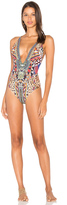 Camilla Plunge Front Low Back One Piece