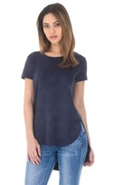 AX Paris Navy Suede Dipped Back Short Sleeved