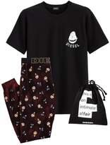 Diesel Printed Christmas Pyjamas with Clutch Bag