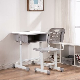 Ubesgoo Adjustable Height Single Desk and Chair Set Desk Finish: White, Frame Finish: White, Seat Color: Light Gray
