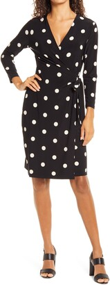 Anne Klein Dot Print Long Sleeve Wrap Dress