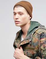 Asos Stitch Fisherman Beanie In Tobacco