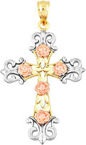 JCPenney FINE JEWELRY 14K Tri-Tone Gold Floral Cross Charm