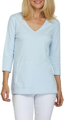 Joan Vass 3/4-Sleeve V-Neck Tunic w/ Zip Pocket