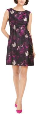 Jessica Howard Petite Floral-Jacquard Fit & Flare Dress