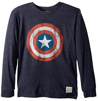 The Original Retro Brand Kids Captain America Long Sleeve Tri-Blend Tee (Big Kids) (Streaky Navy) Boy's T Shirt