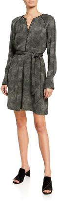 Equipment Abelina Long-Sleeve Belted Dress