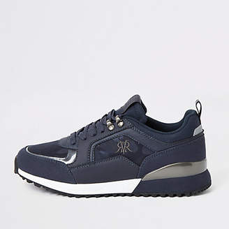 River Island Navy lace-up runner trainers