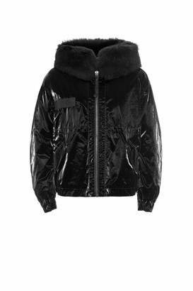 Mr & Mrs Italy Cropped Parka M51 For Woman With Lamb Fur