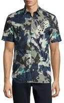 Burberry Evertons Graffiti Camouflage Short-Sleeve Sport Shirt, Navy