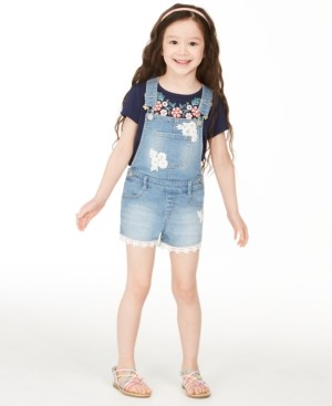 Epic Threads Little Girls Crocheted Denim Shortalls, Created for Macy's