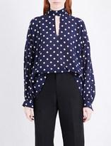 Balenciaga Self-tie polka-dot silk top