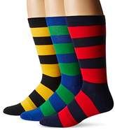 K. Bell K.Bell Black Label Men's Big & Tall Rugby-Stripe Crew Sock 3-Pack