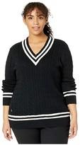 Lauren Ralph Lauren Plus Size Cotton Cricket Sweater (Polo Black/Marscapone Cream) Women's Clothing