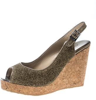 Jimmy Choo Metallic Gold Lurex Prova Slingback Cork Wedge Sandals Size 40