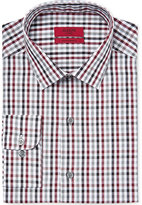 Alfani RED Men's Fitted Merlot Gingham Dress Shirt, Only at Macy's