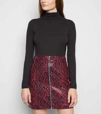 New Look Faux Snake Zip Mini Skirt