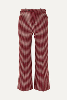 Chloé Cropped Checked Wool-blend Wide-leg Pants - Red