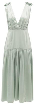 Marysia Swim Clams V-neck Silk Midi Dress - Womens - Light Blue