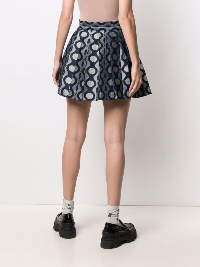 Thumbnail for your product : Charles Jeffrey Loverboy Caterpillar-print pleated mini skirt
