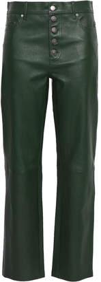 Joseph Button-detailed Leather Straight-leg Pants